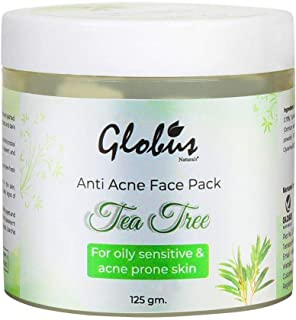 Globus Naturals Tea Tree Anti Acne Face Pack 125gms, for pimple and acne prone skin, with gum resin, yashad bhasma & glyce...