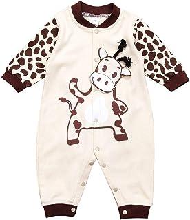Binwwe Baby Spielanzug Strampler Overall Langarm Jungen Mädchen Lange Hülsen Karikatur Tiermilch Kuh Druckknopf