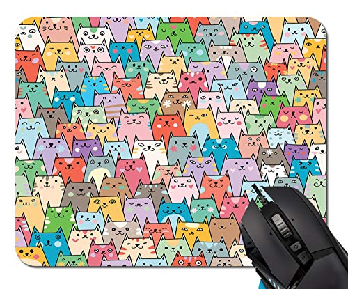 Plenty of Cute Colorful Cats Mouse Pad Non-Skid Natural Rubber Rectangle Mouse Pads Home Office Computer Gaming Mousepad Mat