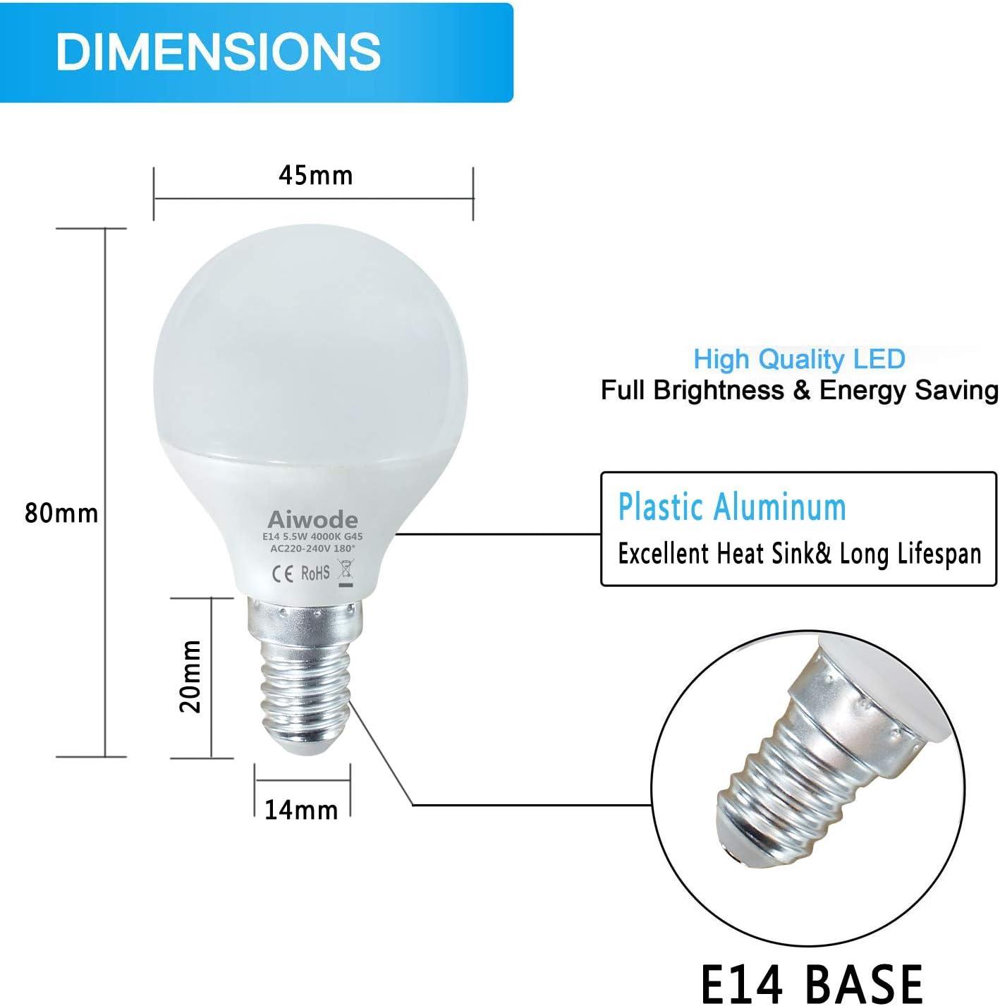470LM C37 Leuchtmittel Ra80 180/°Abstrahlwinkel,6er Pack. Aiwode 5.5W E27 LED Lampe Kerzenleuchten,Naturwei/ß 4000K,Ersetz 40W Halogen-Gl/ühlampe
