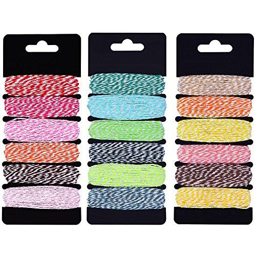 Outus Geschenk Bindfäden Bunten Garn Baumwollschnur DIY Verpackung Garn Baumwolle Garn für Weihnachten Kunsthandwerk, 18 Farben Total 145 Yard