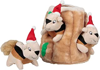 Outward Hound Kyjen Hide-A-Squirrel Squeaking Puzzle Plush Dog Toy, Large, Brown