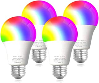 Smart WiFi Alexa Light Bulbs 2.4G, SAUDIO LED RGB Color Changing Bulbs, Compatible with Siri,Alexa, and Google Home Assistant, No Hub Required, A19 E26 Multicolor 4 Pack