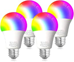 Smart WiFi Alexa Light Bulbs 2.4G, SAUDIO LED RGB Color Changing Bulbs, Compatible with Siri,Alexa and Google Home Assistant, No Hub Required, A19 E26 Multicolor 4 Pack