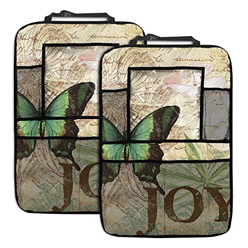 mengmeng Joy and Butterflies - Organizador de asiento trasero para coche, 2 unidades, organizador de asiento de coche con múltiples bolsillos