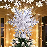 OurWarm Christmas Tree Topper Lighted with LED Rotating Silver Snowflake Decorations Projector Silver Snow Tree Topper Night Light...