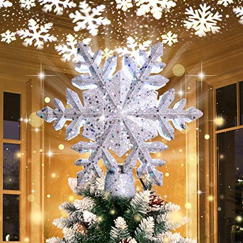 OurWarm Christmas Tree Topper Lighted with LED Rotating Silver Snowflake Decorations Projector Silver Snow Tree Topper Night Light Projector for Indoor Outdoor Christmas Tree Decorations