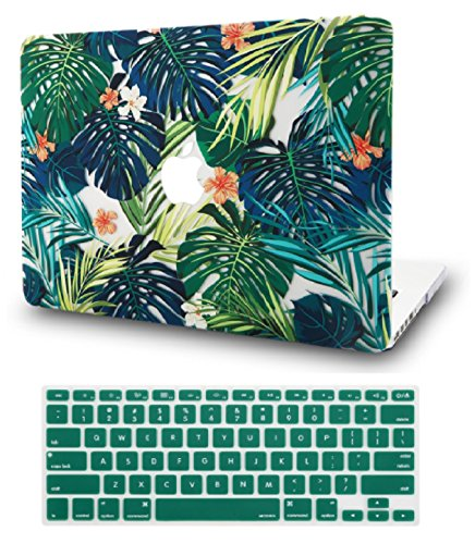 KEC Laptop Case for Old MacBook Pro 13' Retina (-2015) w/KeyBoard Cover Plastic Hard Shell Case A1502/A1425 (Palm Leaves Lilies)