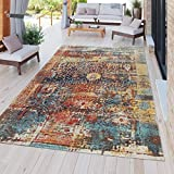 Paco Home Area Rug for Inside and Outside Use Weather-Resistant Vintage Look in Multicolor Blue Yellow Orange Red, Size:2' x 3'3'