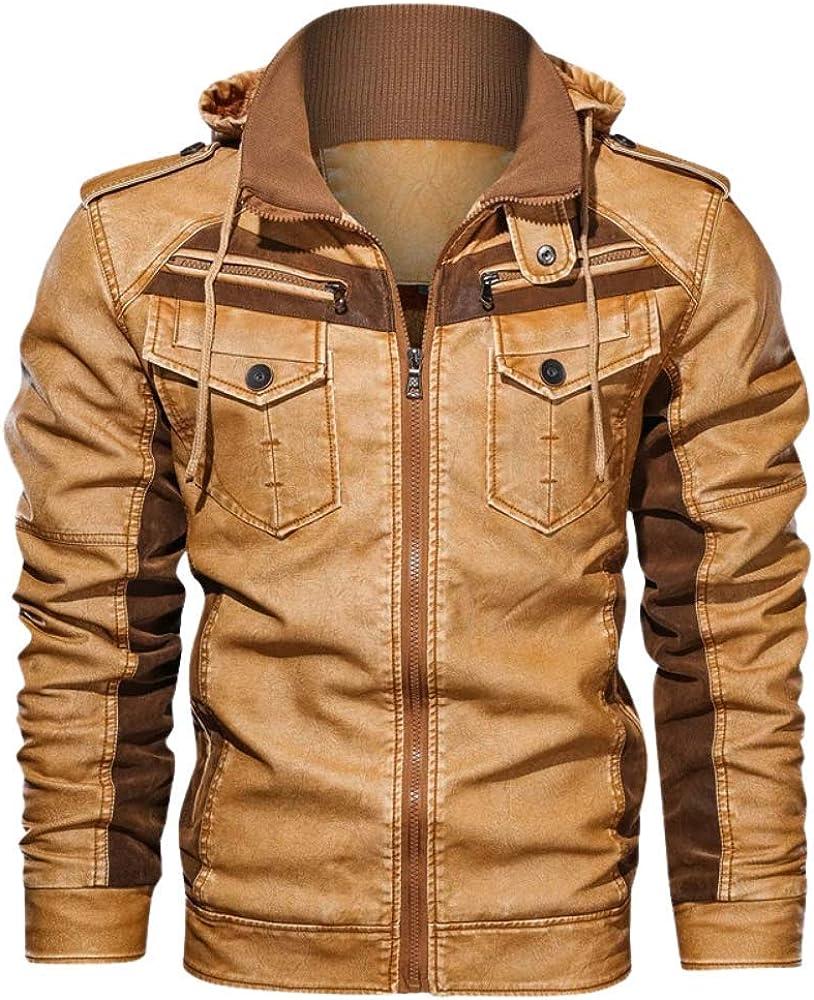 MumaPapa Men's Leather Jackets Winter Fleece Thick Men Hooded Motorcycle jakets