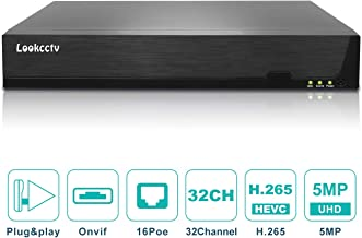 lookcctv 5MP 32 Channel POE NVR/Network Video Recorder with 16 PoE Ports - Supports Up 32 X 5MP /3MP /2MP 1080P ONVIF IP Cameras @ 30fps Realtime, QR Code Access, 8TB HDD(Not Included)