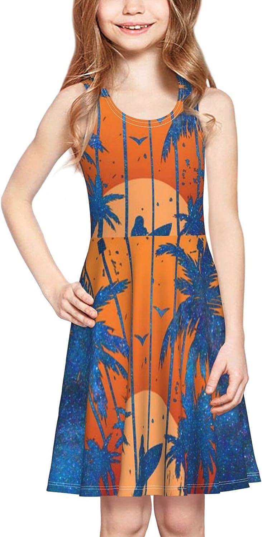 YhrYUGFgf Palm Beach Hawaii Dress Girl's Soft Stretch Casual Skirt Tank Dress