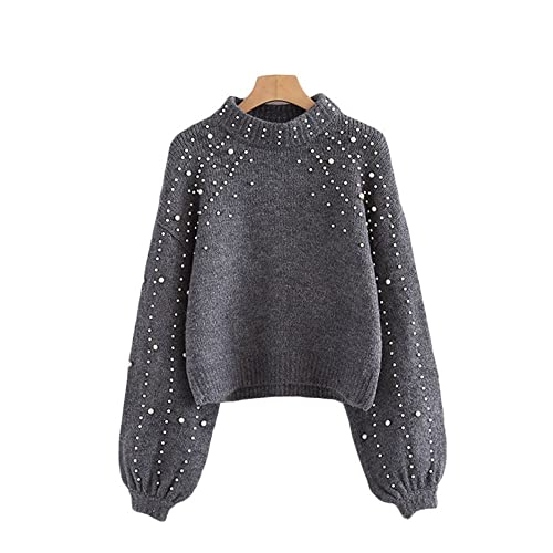 9d1dde73fc Future Time Pearl Beaded Rib Knit Jumper Winter Womens Pullover Sweaters  Grey Stand Collar Long Sleeve
