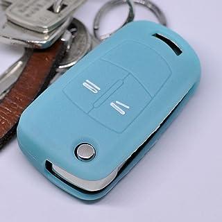 Soft Case Silikon Schutz Hülle Auto Schlüssel Fluoreszierend Blau kompatibel mit Opel Astra Vectra Corsa Zafira Signum bis 2008