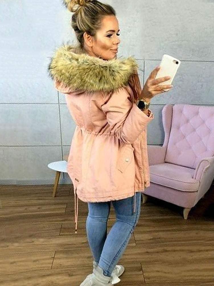 Minetom Damen Warm Verdicken Winterjacke Mantel Mit Plüsch Kapuze Winddicht Tasche Reißverschluss Kurze Parka Jacke Outerwear Top Rosa