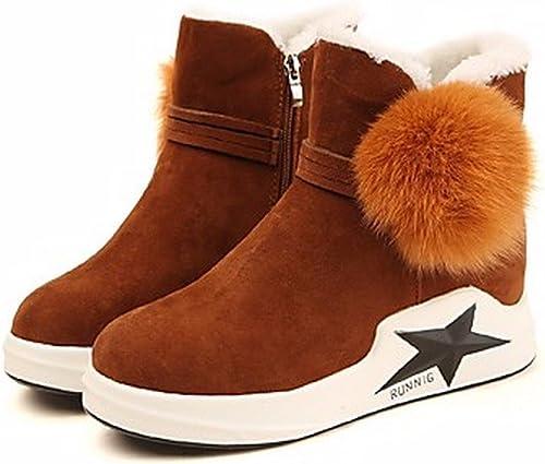 ZHUDJ Chaussures pour Femmes Femmes Bottes d'hiver Bottes Neige Bout Rond pour Un Brun Noir  remise élevée