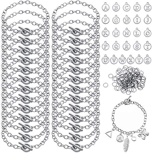26 Pieces Chain Bracelet Round Link Chain Bracelets with OT Toggle Clasp 26 Pieces Alloy Alphabet Letter Charms Pendants and 100 Pieces Open Jump Rings for DIY Jewelry Making Crafts (Silver)