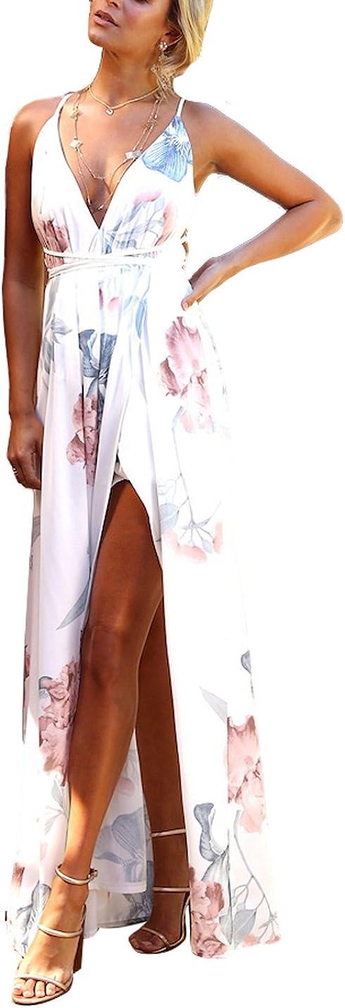 FFLMYUHUL I U Women's Strap Floral Print Lace Up Backless Deep V Neck Sexy Split Beach Maxi Dress