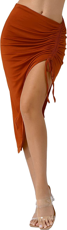 ranrann Women's Ribbed Side Drawstring Stretchy Irregular Pencil Bodycon Skirt