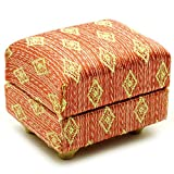 Unbekannt Miniatur Couch Hocker / Sofa Hocker - für Puppenstube Maßstab 1:12 - rot weiß golden -...