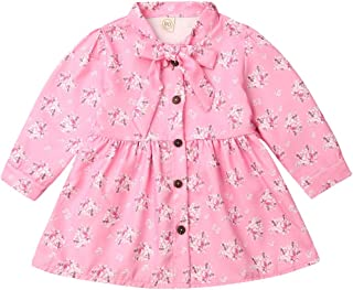 Hogredry Baby Girl Floral Printed Long Sleeve Dress Ruffled Collar Princess Party Wedding Flower Dresses Pink