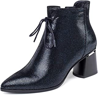 GULI Women's Martin Boots Pointed Booties Thick Heel Shoes with Zipper Shoes