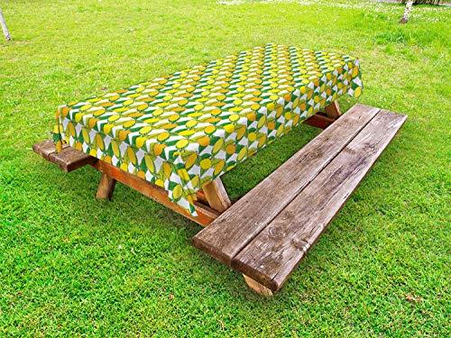 ABAKUHAUS citroenen Tafelkleed voor Buitengebruik, Vitamine C Citrus Drawing, Decoratief Wasbaar Tafelkleed voor Picknicktafel, 58 x 84 cm, Yellow Earth Yellow