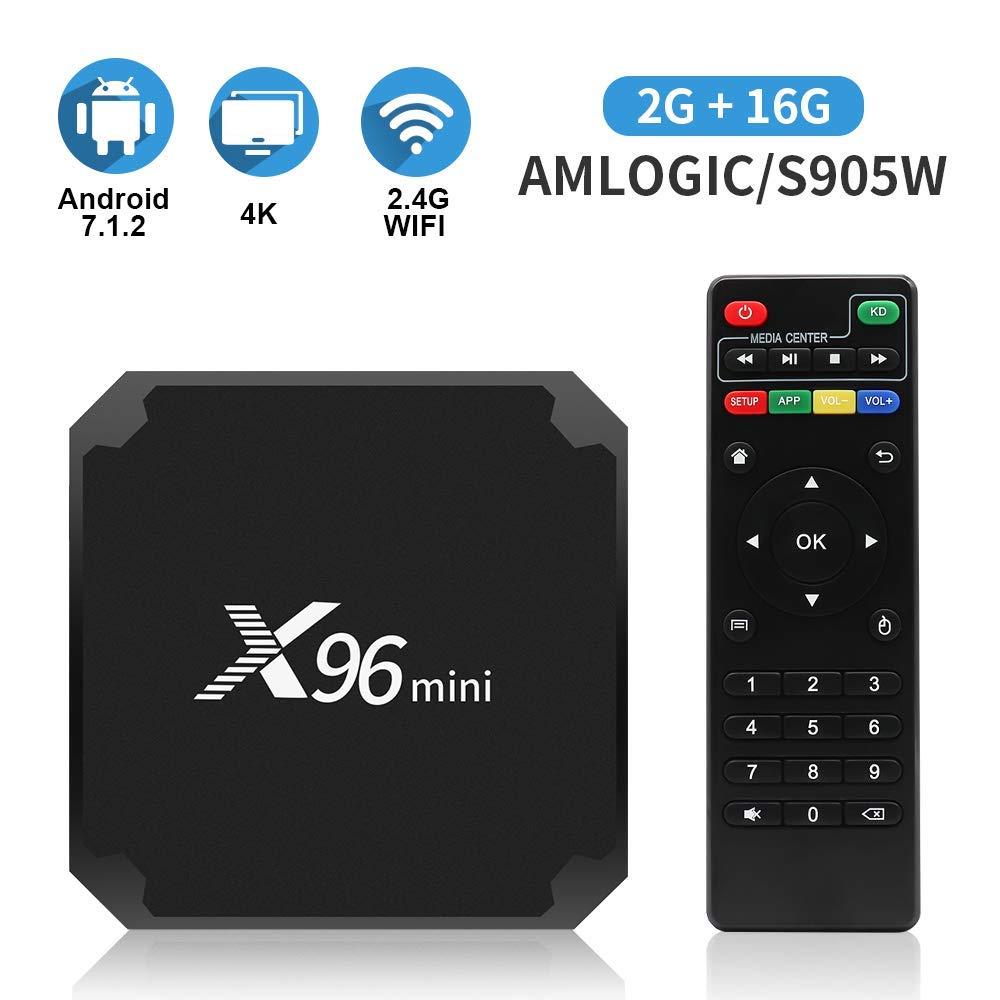 Android 7.1.2 TV Box X96 Mini Caja de TV con Android con 2 GB de RAM 16 GB ROM Smart TV Caja S905W Que admite 4K Full HD Android Caja 2.4GHz WiFi: