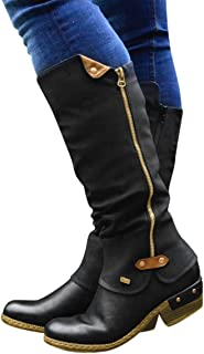 Pongfunsy Women's Knee High Boots Women Fashion Western Style Cowboy Riding Boots Casual Knee Middle Tube Boots