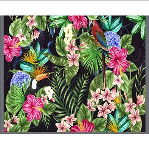 Dianer behang high-end mode persoonlijkheid creatieve binnen tropische bloemen planten en vogels behang 3D behang Afmetingen: 150 x 120 cm.