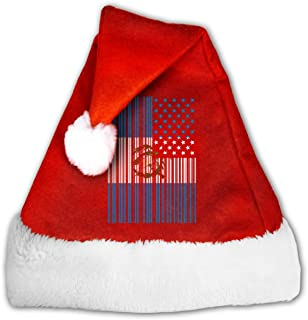 Christmas Hat Bar Coded USA Guatemalan Flag Red and White Unisex Adult's Child Xmas Santa Claus Cap for Holiday Party