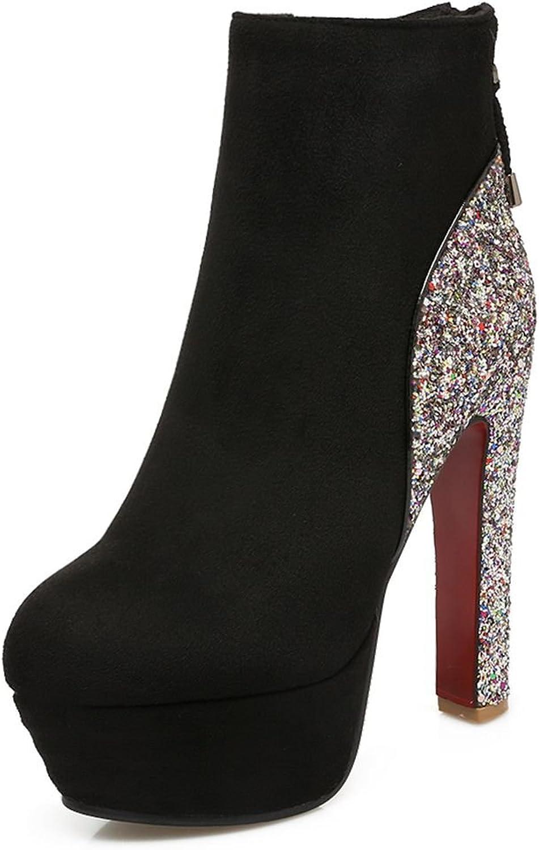 SaraIris Women's Round Toe High Heels Platform Zipper Glitter Suede Ankle Boots