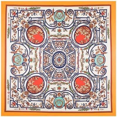 NRWYYD Luxe merk vrouw vierkante sjaals Vintage geometrische NecKerchief origineel ontwerp etnische vaas zijde Foulard hoofd sjaal???wit
