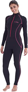 Women Full Body Coverup Swimsuit UV Protection UPF50+ Chlorine Resistant Black Pink Stitch