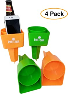Sand Beach Cup Drink & Cell phone Holder/Coaster Beverage & Smart Phone holder (4 Pack) 2 Orange 2 Green