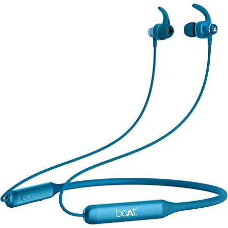 boAt Rockerz 335 Wireless Neckband with ASAP Charge, Up to 30H Playback, Qualcomm aptX & CVC, Enhanced Bass, Metal Control Board, IPX5, Type C Port, Bluetooth v5.0, Voice Assistant(Ocean Blue)