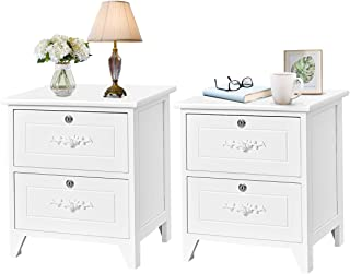 Giantex End Table Wooden W/ 2 Locking Drawers and Handles for Storage and Organize, Solid Structure for Bedroom Beside Sofa Side Nightstand (2, White)