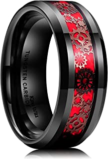 Gentleman Mens 8mm Tungsten Carbide Ring Silver/Gold Gearwheel Black Carbon Fiber Inlay Wedding Band