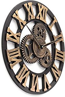 YJSMXYD Reloj De Pared Retro Vintage Hecho A Mano Grande De Madera Reloj De Pared 3D Decoración del Hogar De Madera Colgante De Pared Sala De Estar Horloge Regalo 80 Cm