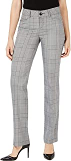 LEE Womens Straight Leg Plaid Trouser Pants Gray 10
