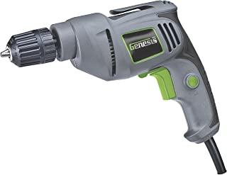 Genesis GD38B Variable Speed Reversible Electric Drill with 3/8-Inch Keyless Chuck, Belt..
