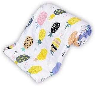ベビー バスタオル 6重 ガーゼ 赤ちゃん おくるみ ベビー ブランケット 天然コットン タオルケット 柔らかく 可愛い果物 男女兼用 新生児に 出産祝い 保育園 パイナップル ピンク