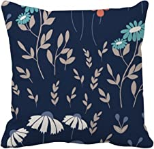 DIYthinker White Blue Flower Plant Paint Square Throw Pillow Insert Cushion Cover Home Sofa Decor Gift 40 X 40Cm (There ar...