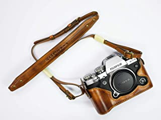 JP KAZA Fujifilm XT3 レザーハーフケース + ストラップ 富士フイルムX-T3用カメラケース高級 イタリアンレザー 本革 バッテリー交換可能
