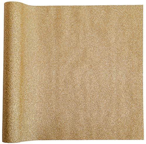 Dekostoff Glitzer Gold, 28 cm x 2,50 m | Tischläufer | Tischband | Tischdeko | Dekoration Weihnachten, Advent, Silvester