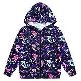 Jxstar Girls Hoodie Bomber Jacket Cartoon Starry Mermaid Print Long Sleeve Full Zip Pocket Coat Outwear Starry Mermaid 110