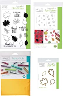 Gina K Stamp and Foil - Thankful Leaves Bundle - Clear Stamps, Steel Dies, Foil-Mates Detail Sheets and Wild Dandelion Fancy Foil with Storage Pocket