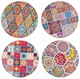 BOHORIA® Premium Design Keramik Untersetzer (4er Set) – Für Getränke, Tee-Gläser, Blumen-Topf, Teller auf ihrem Tisch aus Holz, Glas, Marmor oder Stein (rund | 10.8cm) (Mandala Ceramic)