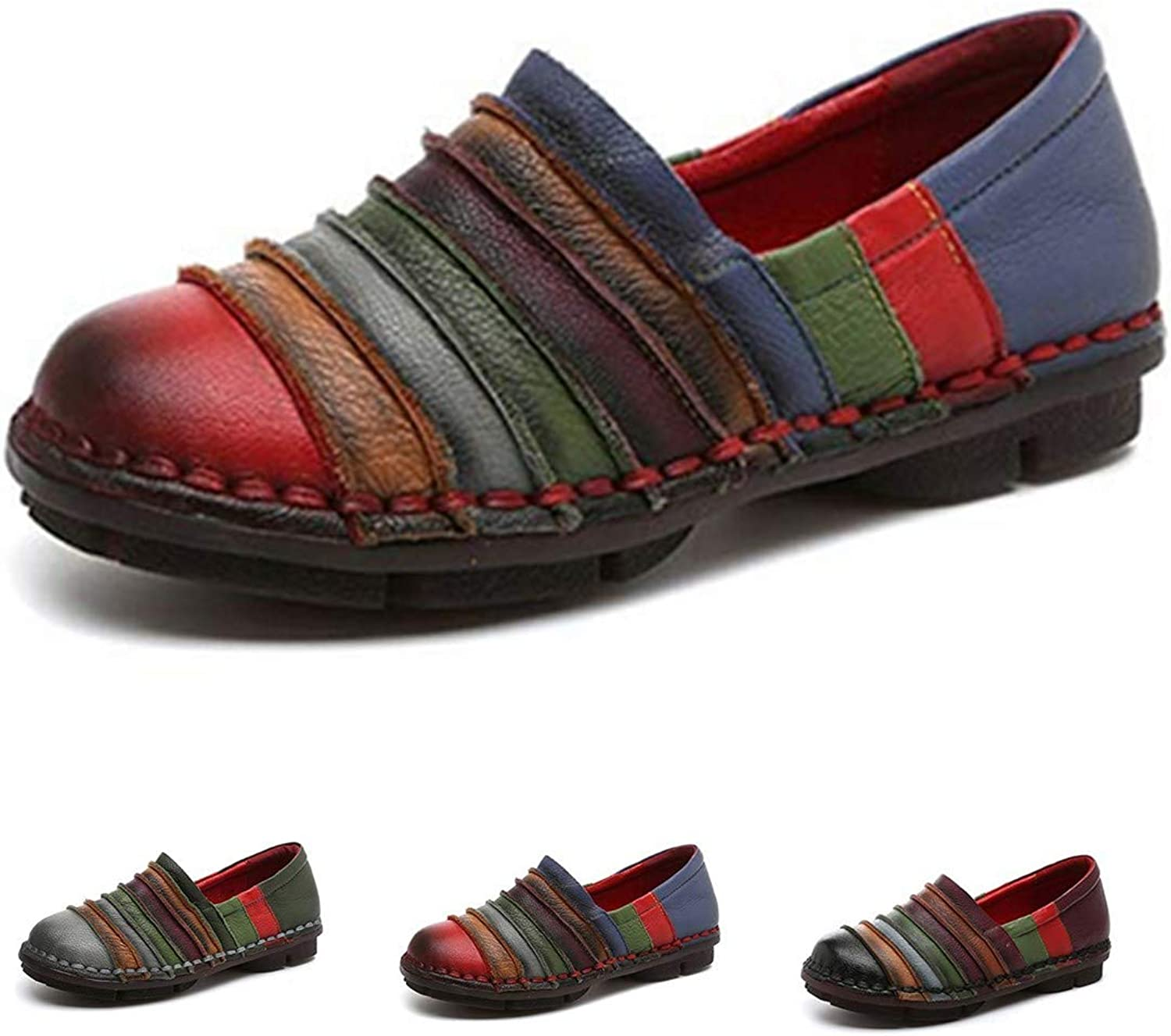Socofy Slip-On Loafer, Women's Rainbow Leather Casual Loafer Flat Walking shoes Driving Loafers Moccasin Slippers