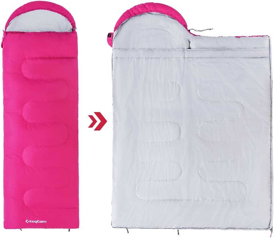 KingCamp X-Large 4 Season Warm Sleeping Bag with Hood for Adults Women Men Youth Camping Hiking Backpacking 87 L x 31.5 W Extreme Temperature 8.6℉
